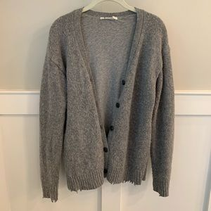 T by Alexander Wang Distressed Cardigan Sweater